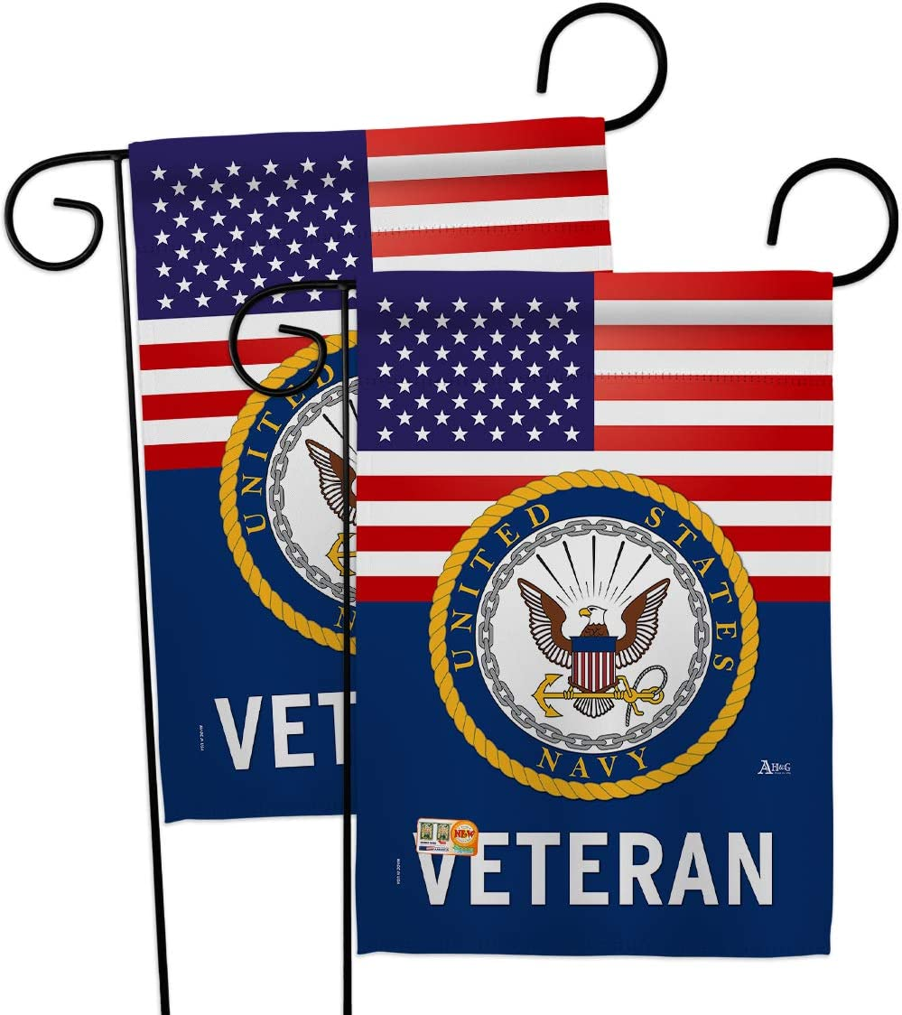 US Navy Veteran Garden Flag - 2pcs Pack Armed Forces USN Seabee United State American Military Retire Official - House Decoration Banner Small Yard Gift Double-Sided Made in USA 13 X 18.5