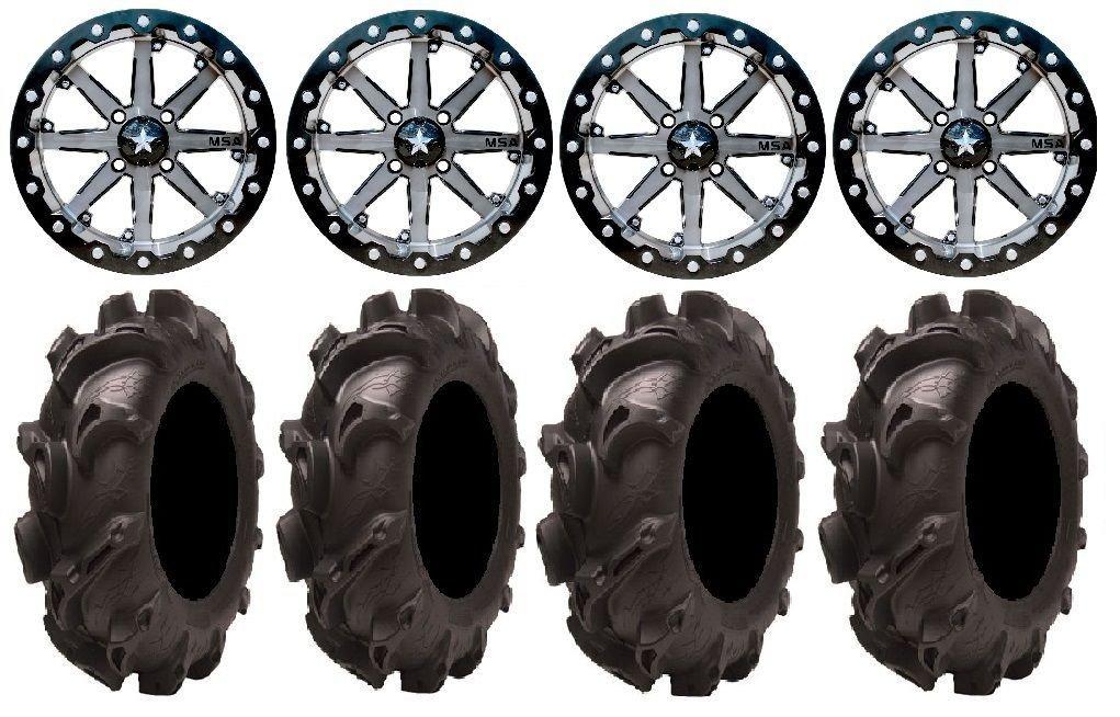 Bundle - 9 Items: MSA Lok 14'' UTV Wheels 30'' Monster Mayhem Tires [4x137 Bolt Pattern 12mmx1.25 Lug Kit]