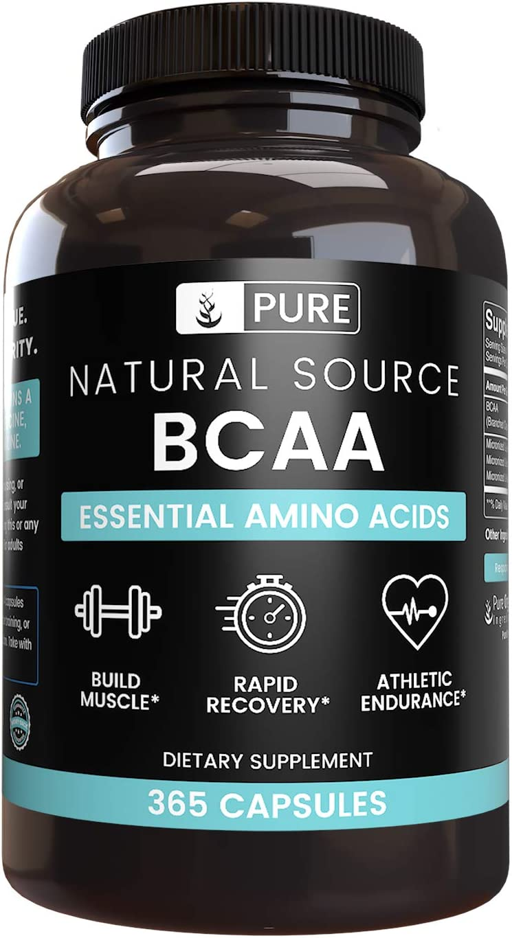 Natural Source BCAA, 365 Capsules, 90 Day Supply, No Magnesium or Rice Fillers, 2:1:1 Ratio, Non-GMO, Made in USA, Paleo & Keto Friendly, Gluten-Free, Undiluted BCAA with No Additives