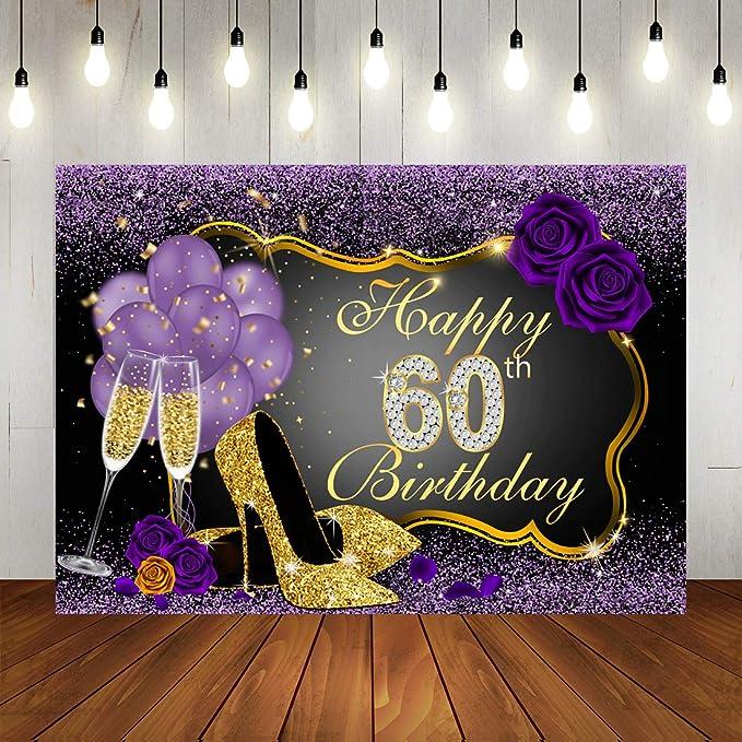 Fotohintergrund Mit Aufschrift Happy 60th Birthday Glänzende Violette Punkte Und Goldener Rahmen Hintergrund Für Party Dekorationen Rosenblumen Luftballons Absätze Champagnerglas Für Geburtstagsparty Banner Für Fotostudio