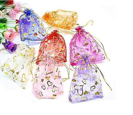 100 piezas de 13 cm x 18 cm plegable Organza cordón bags-portable bolsas de almacenamiento bolsas de dulces para Festival regalo joyería party boda ...