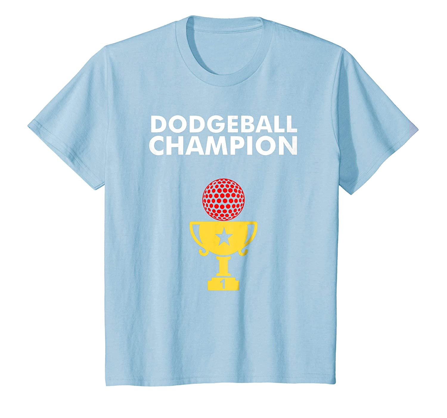 17fbed709776 Amazon.com: Kids Dodgeball Champion TShirt with Trophy 12 Baby Blue:  Clothing