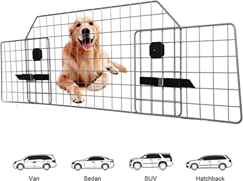 Adakiit Dog Barrier for SUV Car Vehicles, Adjustable Pet Barrier Car Gate Universal Fit Wire Mesh Dog Car Guard – Car Divider for Dogs Pets SUVs