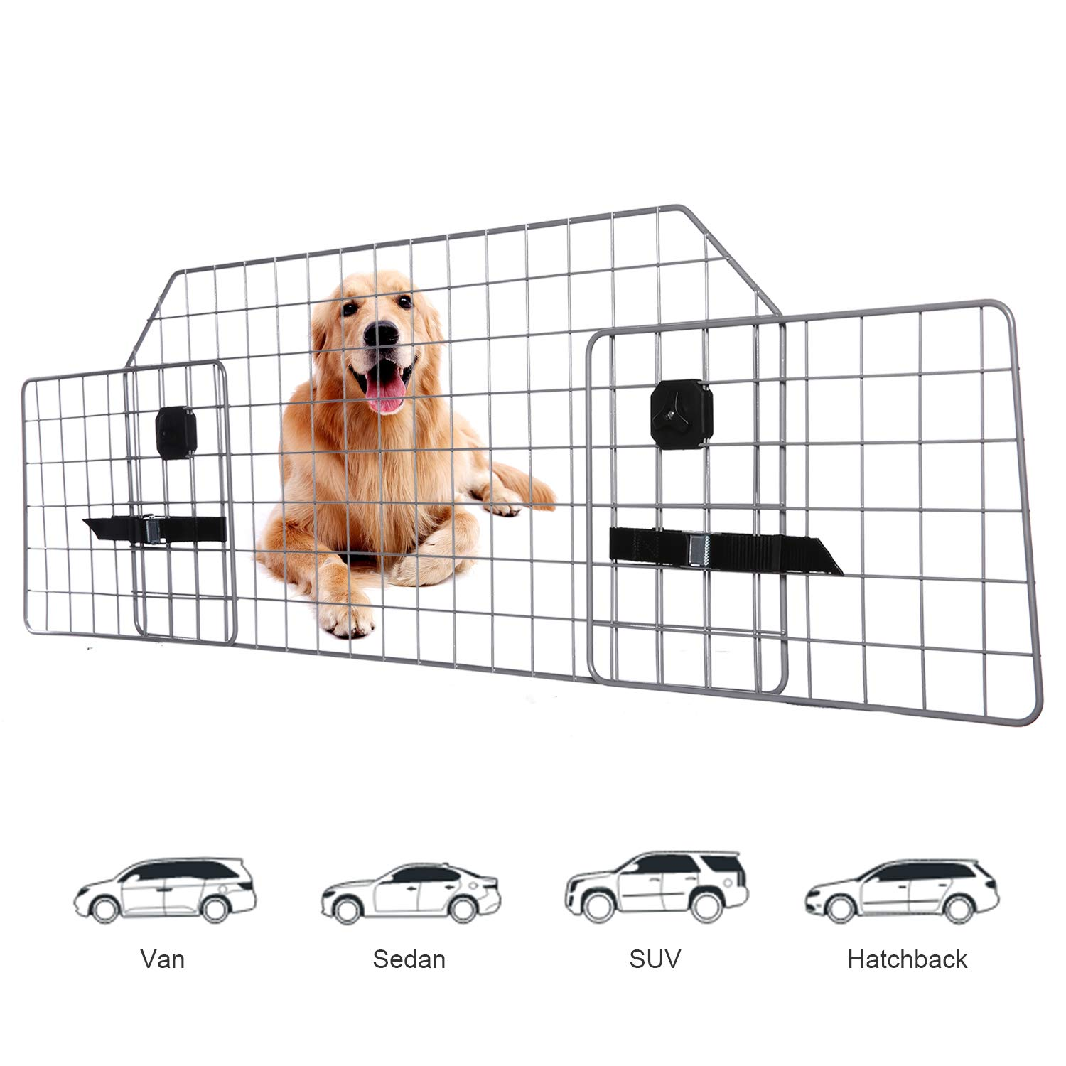 Adakiit Dog Barrier for SUV Car & Vehicles, Adjustable Pet Barrier Car Gate Universal Fit Wire Mesh Dog Car Guard - Car Divider for Dogs Pets SUVs with Upgraded Design by Adakiit