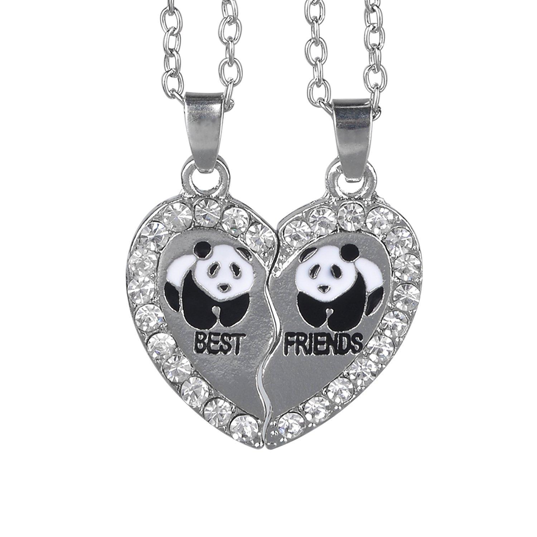 bedee Femme Fille Bijoux Collier d'Amitie Forever Pendentif Coeur Briser Couple Puzzle Pandasbest friends Strass BE0374-fr
