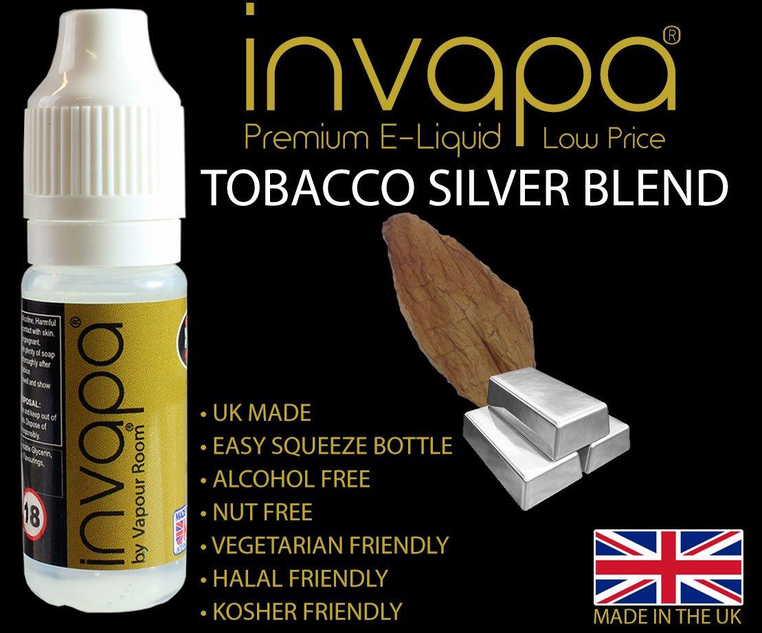 UK Made Invapa Premium E-Liquid 10ml - TOBACCO FLAVOURS - 0mg No Nicotine -  (Virginia Rolling Tobacco)