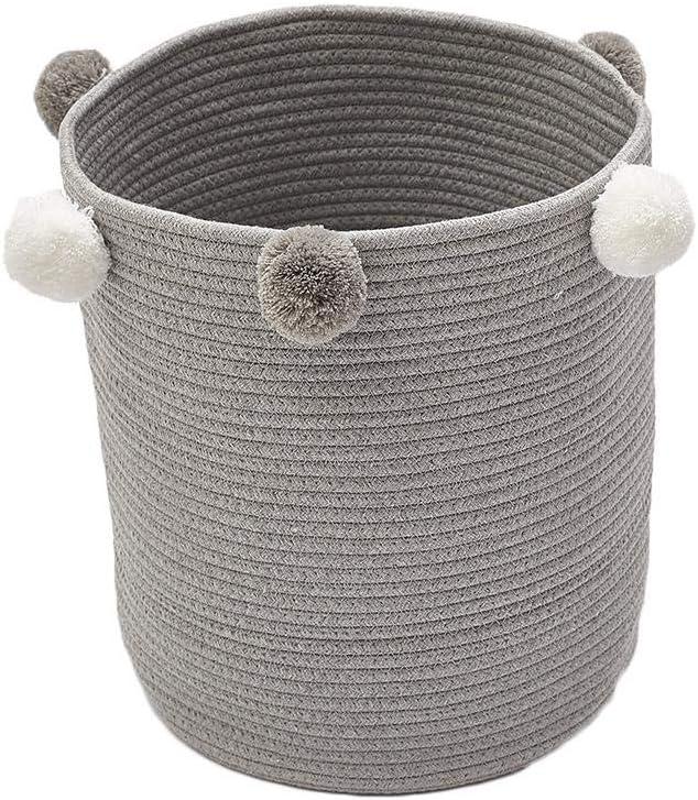 Canasta de Cesta Decorativa de 32x37 cm para Manta de beb/é Sponsi Canastas de Almacenamiento de Gran Tejido Gris Canasta de lavander/ía de guarder/ía de Juguete para ni/ños