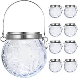 8-Pack Hanging Solar Lights Outdoor, Decorative Cracked Glass Ball Lights Solar Powered, Waterproof LED Globe Lantern with Handle for Umbrella, Tree, Garden, Yard, Patio, Holiday Decor (Cool White)