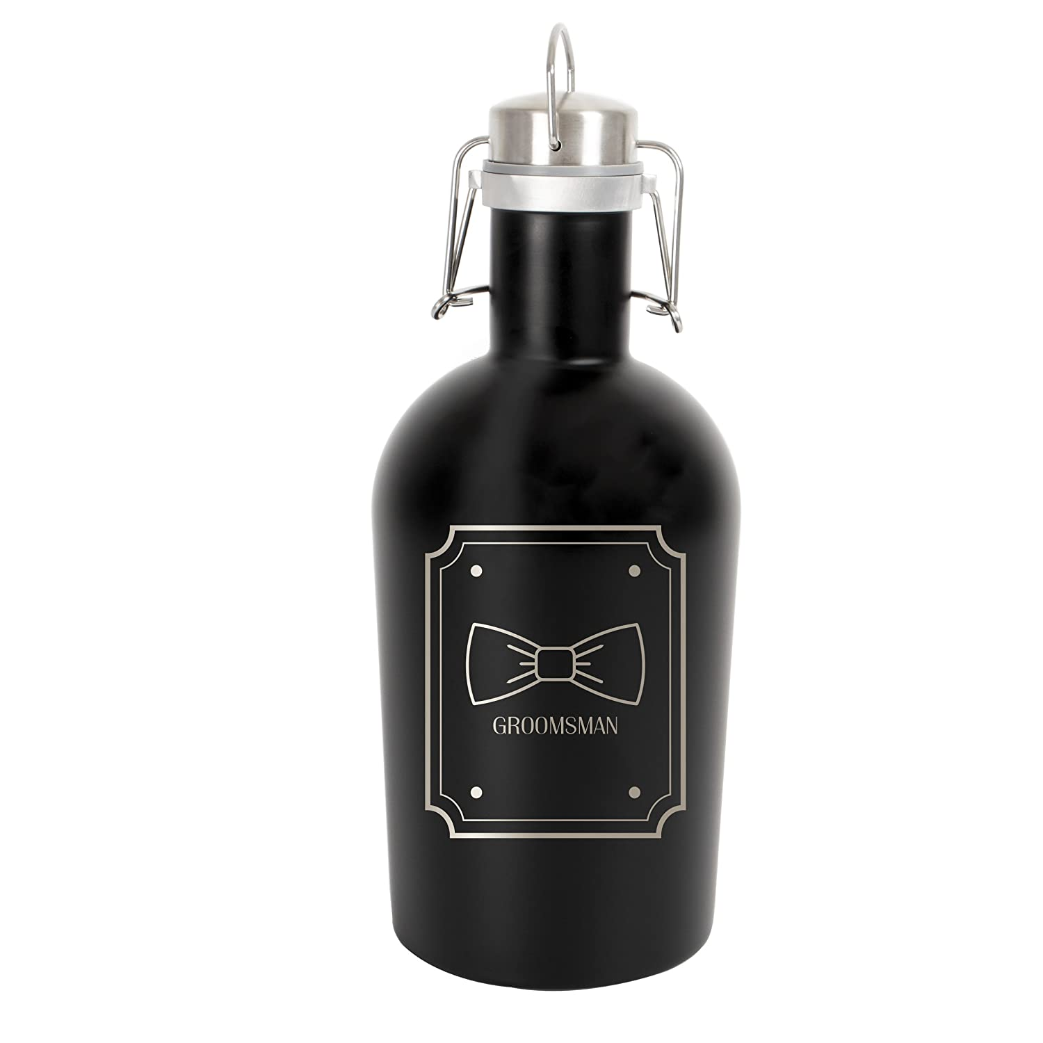 Cathy's Concepts Stainless Steel Groomsman Growler, Black Cathy's Concepts WD-2209