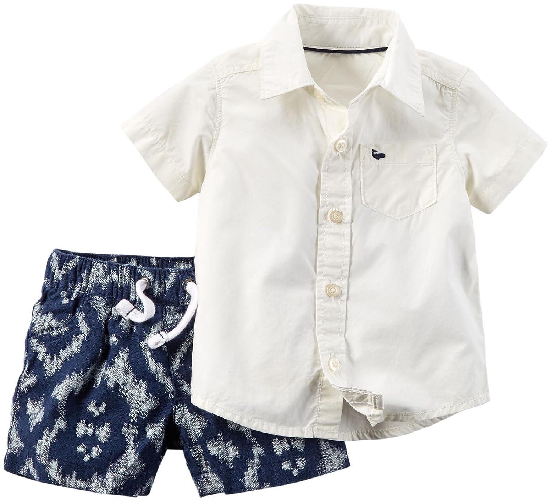 Carter's 2 teilige Kombination Hemd Shorts/kurze Hose für Junge Baby weiss Sommer outfit boy Set Oberhemd Shirt