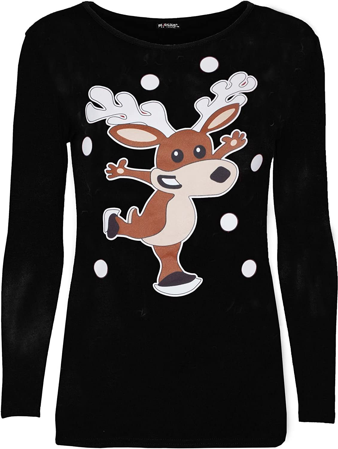 Be Jealous Kids Children Long Sleeve Christmas Dancing Reindeer Printed Ladies Xmas T Shirt UK Size 5-13