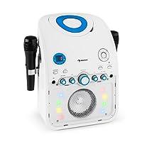 auna StarMaker  Karaokemaschine  Kinder Karaoke Player  Karaoke Anlage  Bluetooth  Multicolor LED-Lichteffekt  CD-Player  Spielt Karaoke-CDs  2 x Mikrofon  USB-Port  Video-Ausgang  weiß