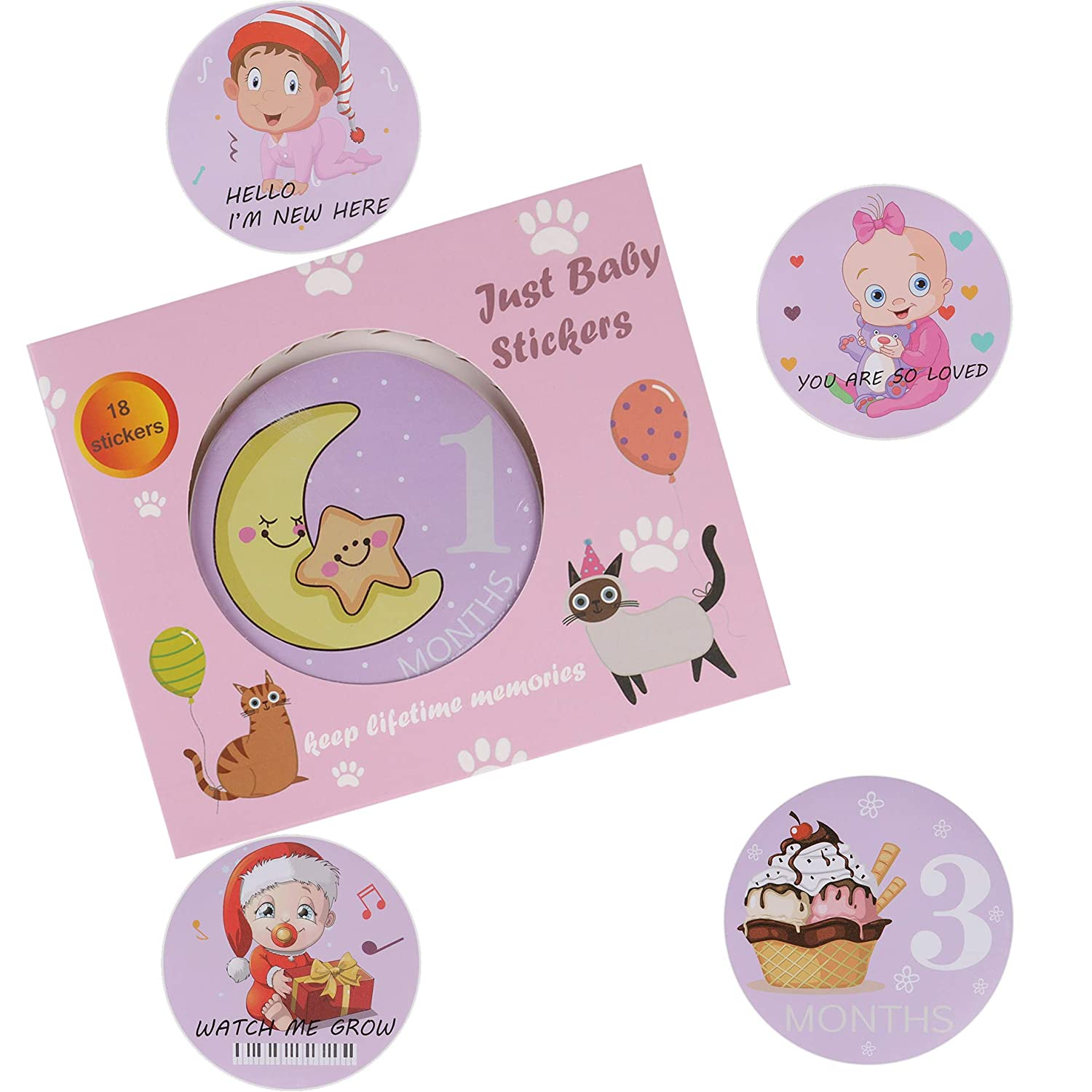 Baby Girl Monthly Milestone Stickers, 18 Pack Onesie Month Belly Stickers for Newborn, Infant – Baby Shower Gift