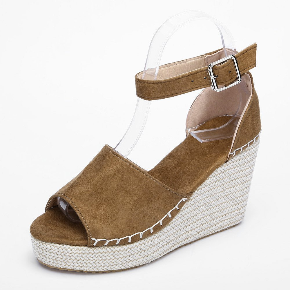 d6f8b5c6b886 Amazon.com: Gyoume Women High Heel Wege Platform Sandals Platform Shoes  Peep Toe Wedges Hasp Sandals Summer Beach Sandals: Clothing
