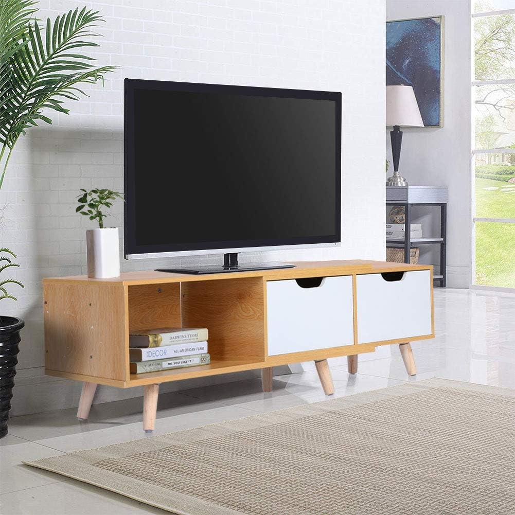 Mueble para TV, Libremente Retráctil Mesa Television Moderno Mesa Televisión con 2 Cajones para Sala de Estar y Dormitorio, Color Arce y Blanco, 30 × 37 × 138-170 cm: Amazon.es: Electrónica