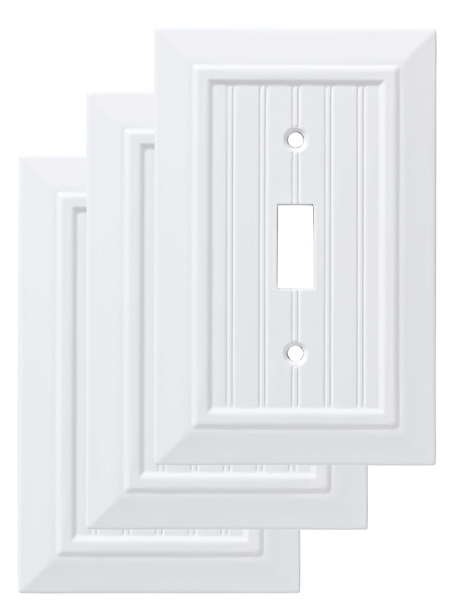 Franklin Brass W35265V-PW-C Classic Beadboard Single Switch Wall Plate/Switch Plate/Cover (3 Pack), Pure White by Franklin Brass