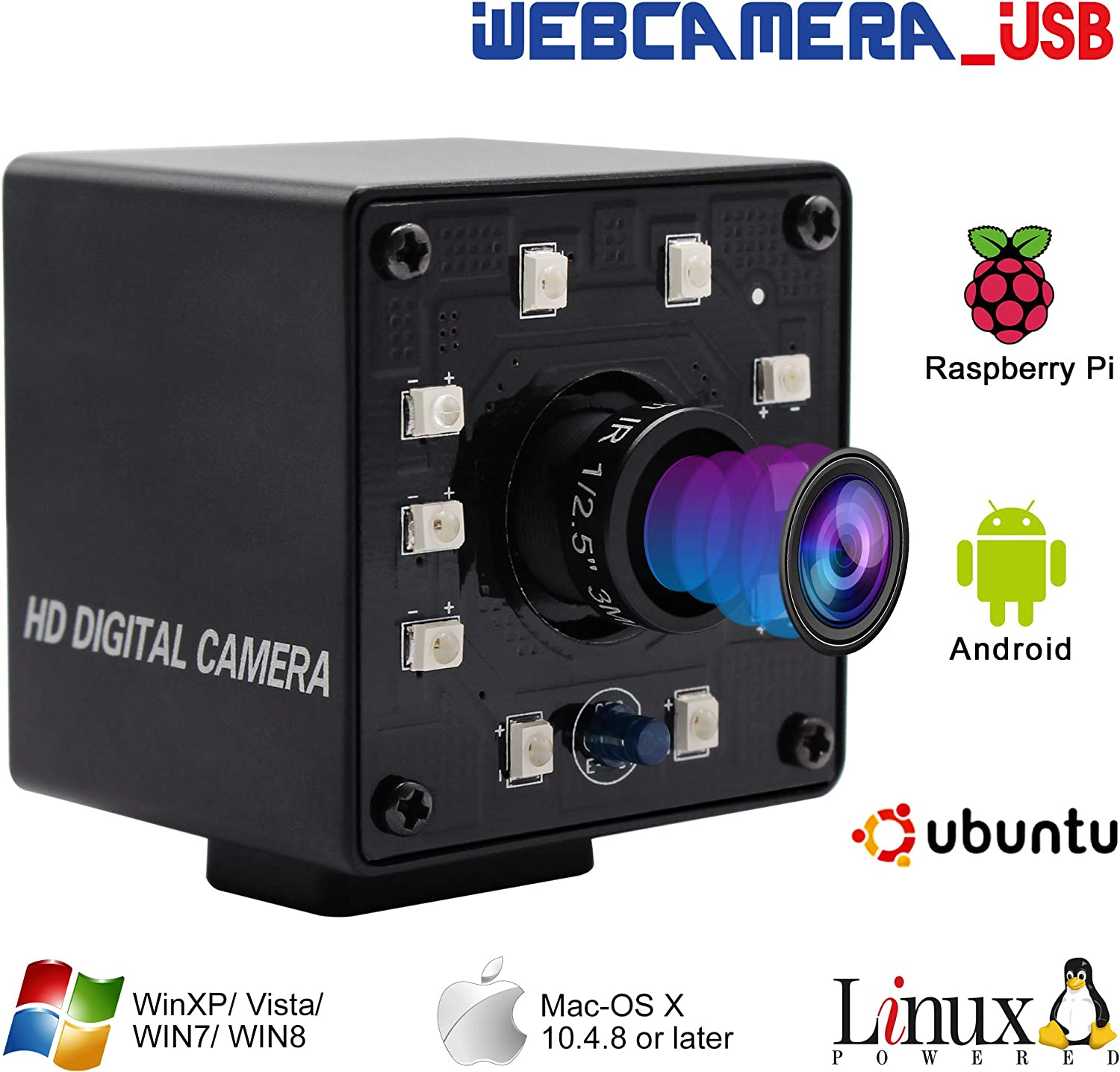 "100fps Night Vision USB Camera 1/2.7"" CMOS OV2710 Web Cam Full HD 1080P USB with Camera Mini Infrared USB2.0 Webcam with IR Cut and 10pcs Led Board,Webcamera with 3.6mm Lens for Android Windows Linux"