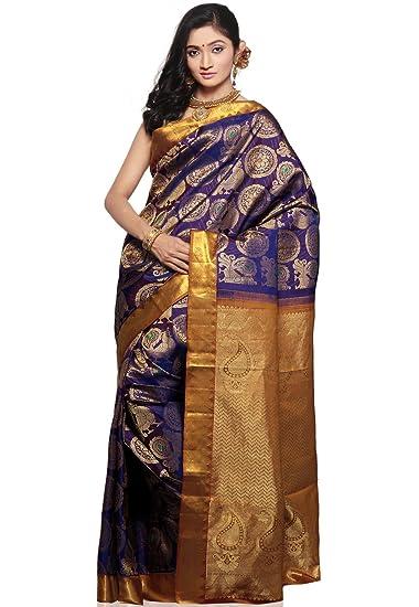 54add9bddfe5be Utsav Fashion Women's Dark Purple Pure kanchipuram Handloom Silk Saree with  Blouse: Amazon.in: Clothing & Accessories
