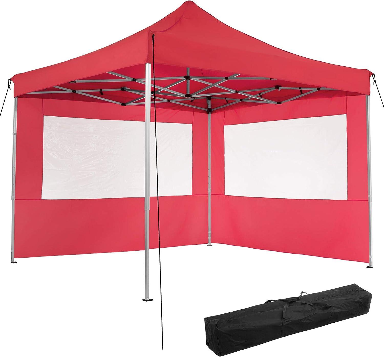 TecTake 800685 Carpa de Jardín 3 x 3m, Plegable, Aluminio, 100% Impermeable, 2 Paneles Laterales, con Cuerdas Tensoras, Piquetas y Bolsa (Rojo | no. ...