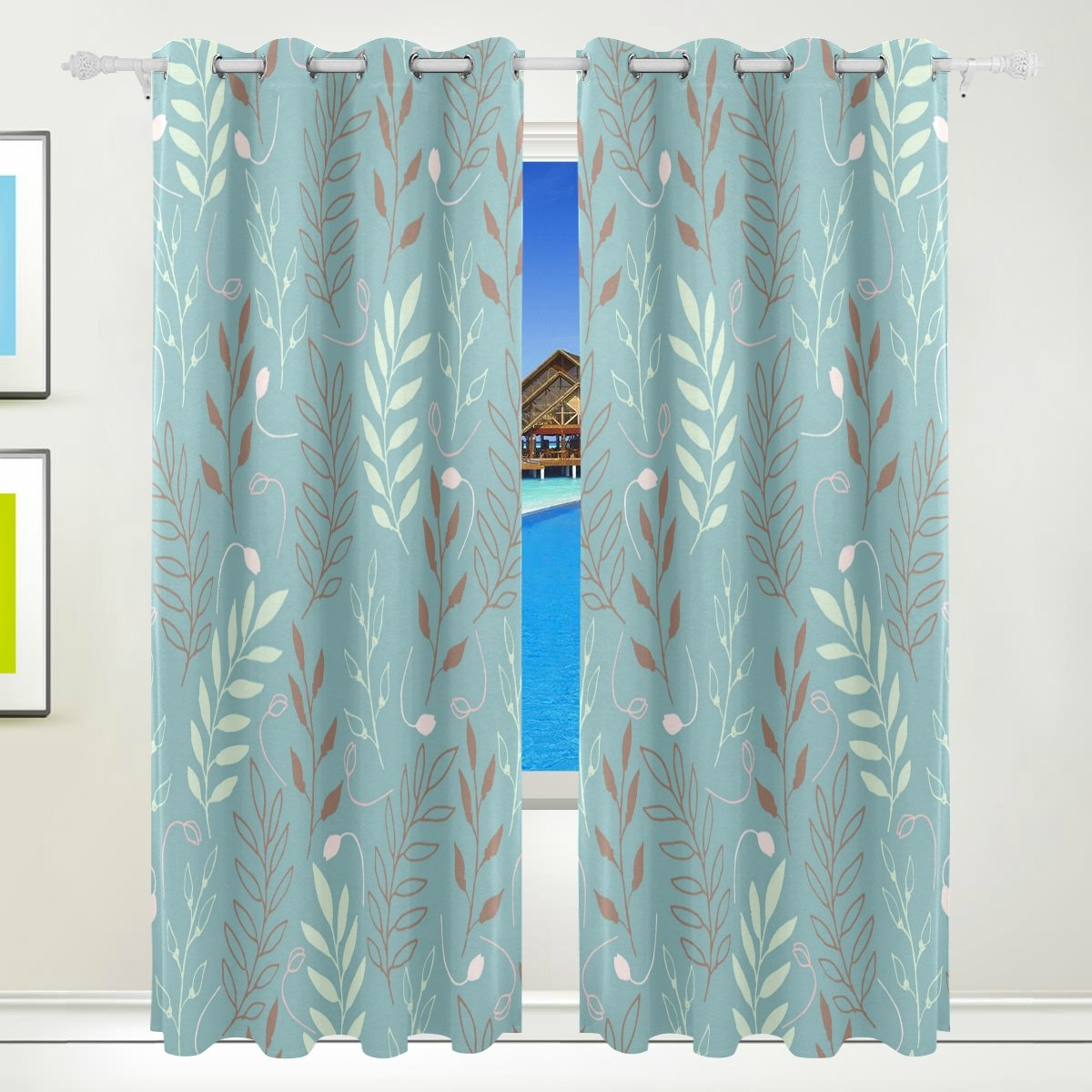 Vantaso Light Shading Window Curtains Abstract Leaves Branches Blue Polyester 2 Pannels for Kids Girls Boys Bedroom Living Room 84 inch x 55 inch