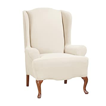 Super Surefit Stretch Morgan Wing Chair Slipcover Ivory Gmtry Best Dining Table And Chair Ideas Images Gmtryco