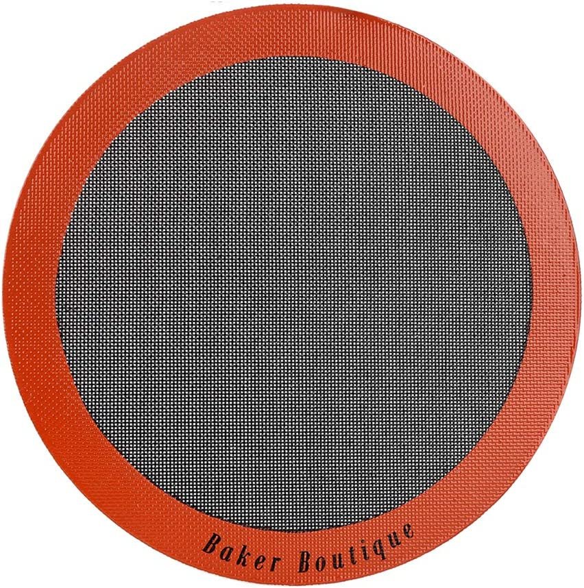 Perfect Pizza Mat Silicone Baking Cake Liner, Heat Resistant Toaster Pad, Reusable Non-stick Perforated Steaming Mesh for Bread/Cookie/Pastry (12Inch, Orange, Round)