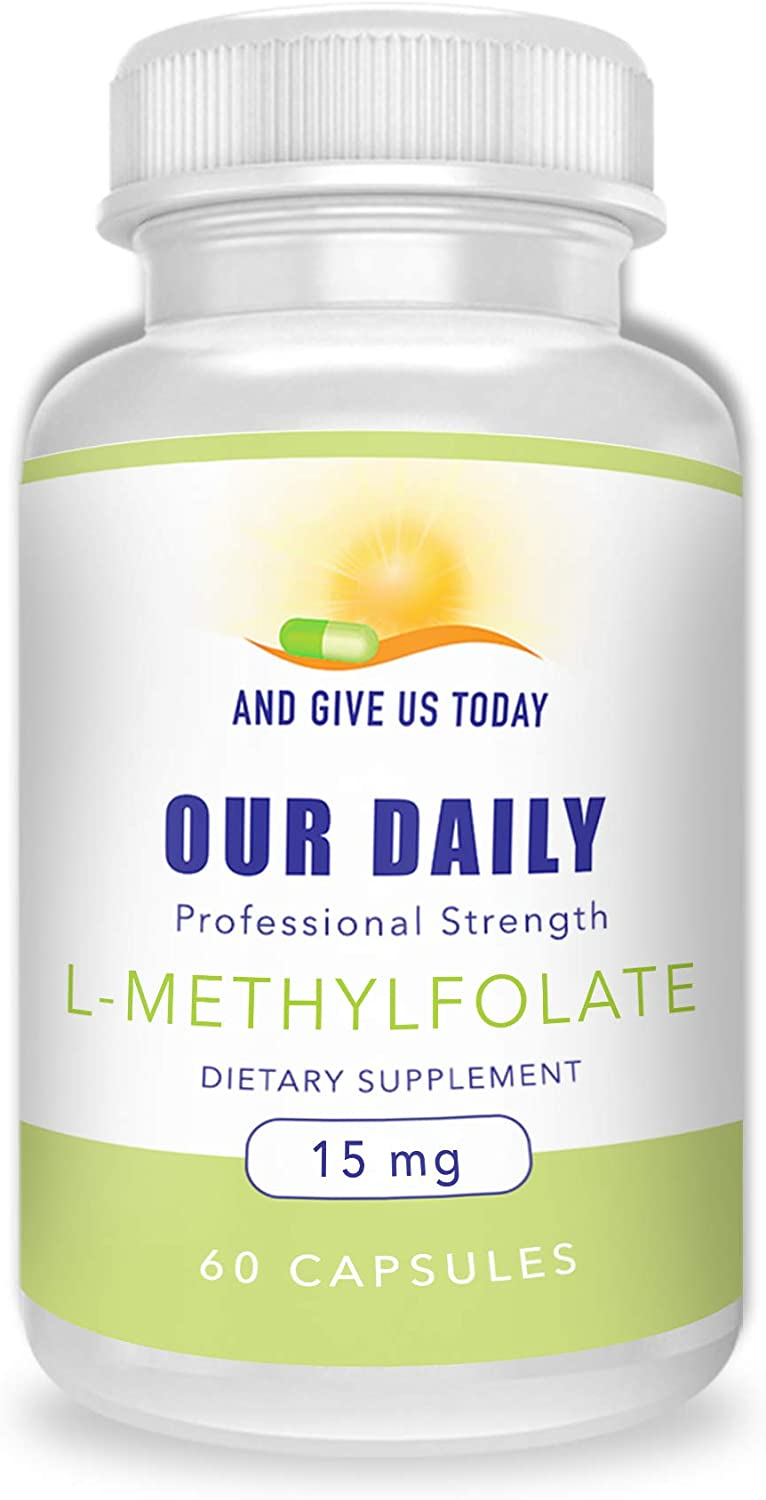 Our Daily Vites L-Methylfolate 15 mg 15000 mcg Maximum Strength Active Folate, 5-MTHF, Filler Free, Gluten Free, Non-GMO, Vegetarian Capsules 60 Count 2 Month Supply