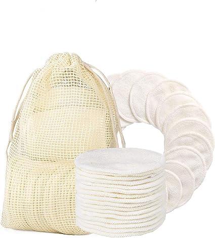 Discos Desmaquillantes Reutilizables, Algodones Desmaquillantes Lavables y Ecologicos, Hechos en Fibra de Bambú y Algodón, con Bolsa de Lavado, Aptos Para Todo Tipo de Pieles - 16Pcs: Amazon.es: Belleza