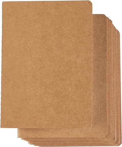 Paper Junkie cuadernos de kraft (12-pack) - revistas portátiles, de bolsillo para viajeros revistas, diarios, notas - línea continua, tamaño a6, kraft cubierta, páginas 40 doble cara, 10,5 x 14,5 cm: Amazon.es: Oficina y papelería