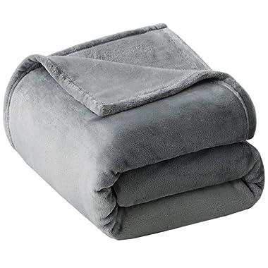 VEEYOO Fleece Blanket King Size - Ultra Soft Warm Plush Blanket All Seasons Lightweight Bed Throw Blanket 90 x 108 Inches, Grey