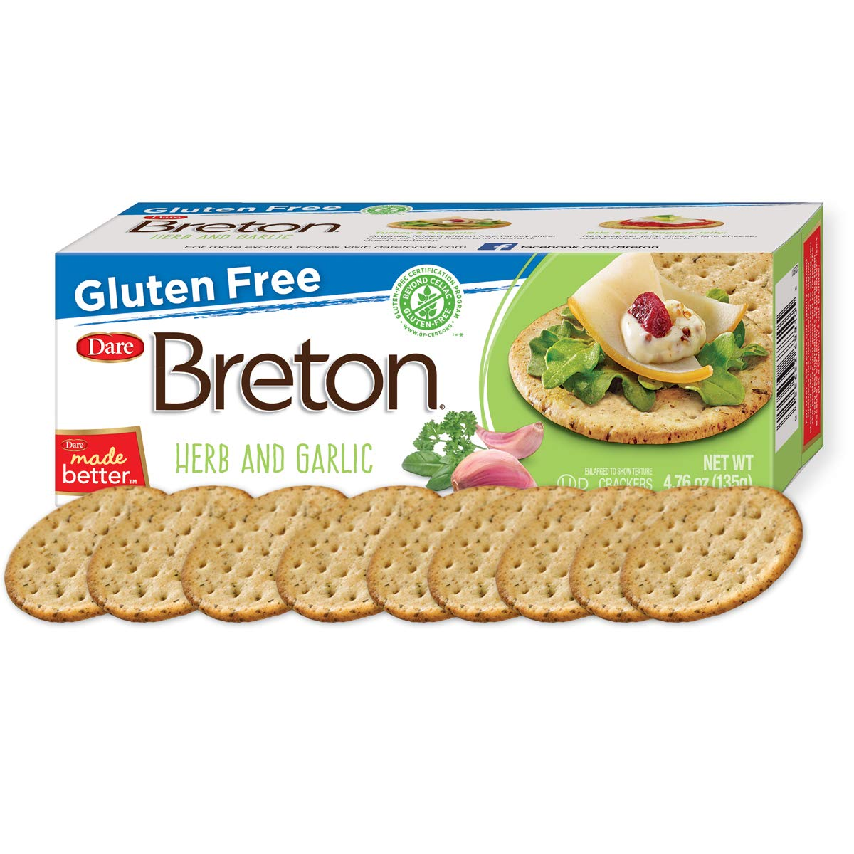 Dare Breton Gluten Free Entertaining Crackers, Herb and Garlic - Gluten Free Party Snacks with no Artificial Colors or Flavors - 4.76 Ounces (Pack of 6) by Dare