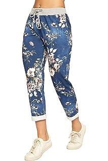 LavishFashionTown New Italian Ladies Floral Mix Elastic Waist Cotton Summer Trouser Jogger One Size Fits 10-16