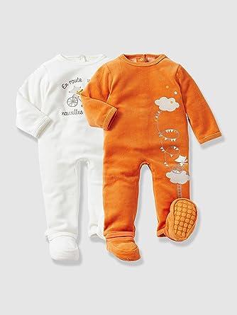 418521cc6a9bc Vertbaudet - Lot de 2 pyjamas bébé velours à pieds amovibles  Amazon ...