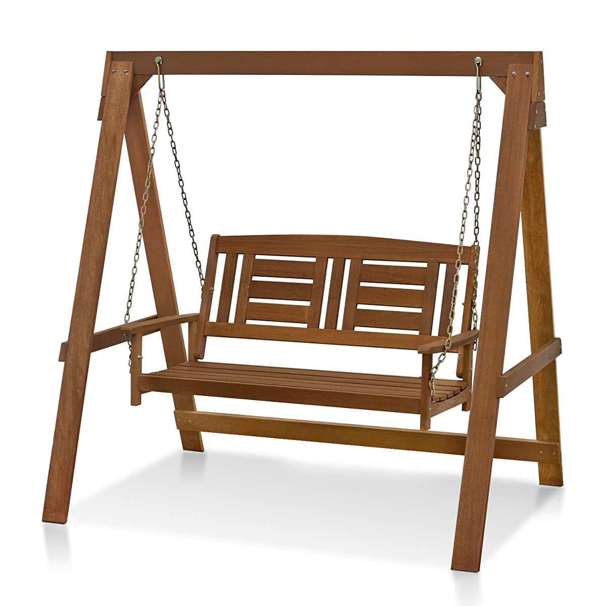 Furinno FG16409 Tioman Hardwood Hanging Porch Swing with Stand in Teak Oil