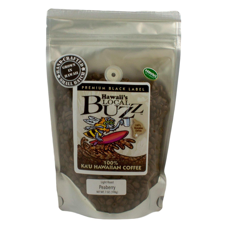 Hawaii's Local Buzz Premium Black Label Peaberry, Light Roast, 7 Ounce