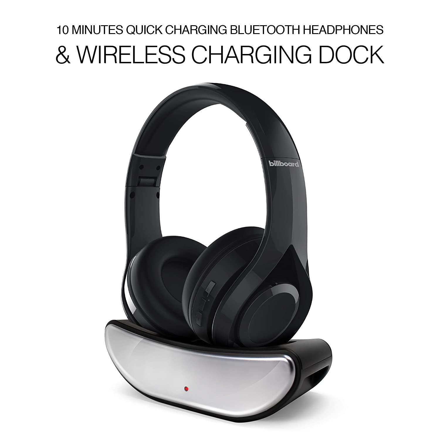 10 Minutes Quick Charging Headphones & Charging Dock. Extra Bass. Over Ear Headphones, Long Talk and Play time, Soft Protein earcups for Travel/Work/PC/iPhones/Samsung Phones-Black