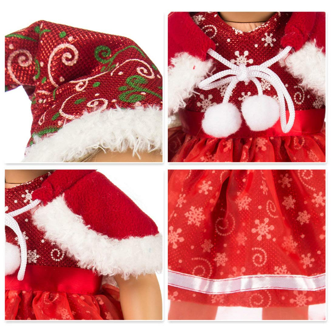 ZKB10 Lidianzhi Red-Snowflake TianBo 3pc Christmas Red Color Including Snowflake Hat Shawl Dresses Outsuits for 18 Inch American Girl Dolls