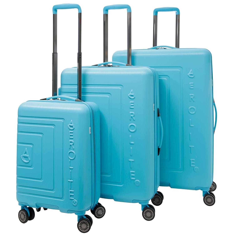 Aerolite Valigia per bagaglio a 3 ruote in ABS rigido leggera 8 pezzi, 21Bagaglio a mano a mano + Medium 25 + Large 29Hold Check In Bagaglio, Blu acceso