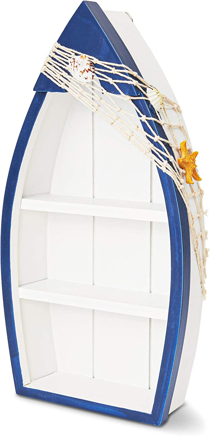 Juvale Wooden Beach Boat with Shelves for Nautical Home Decor (3.34 x 13.3 Inches)