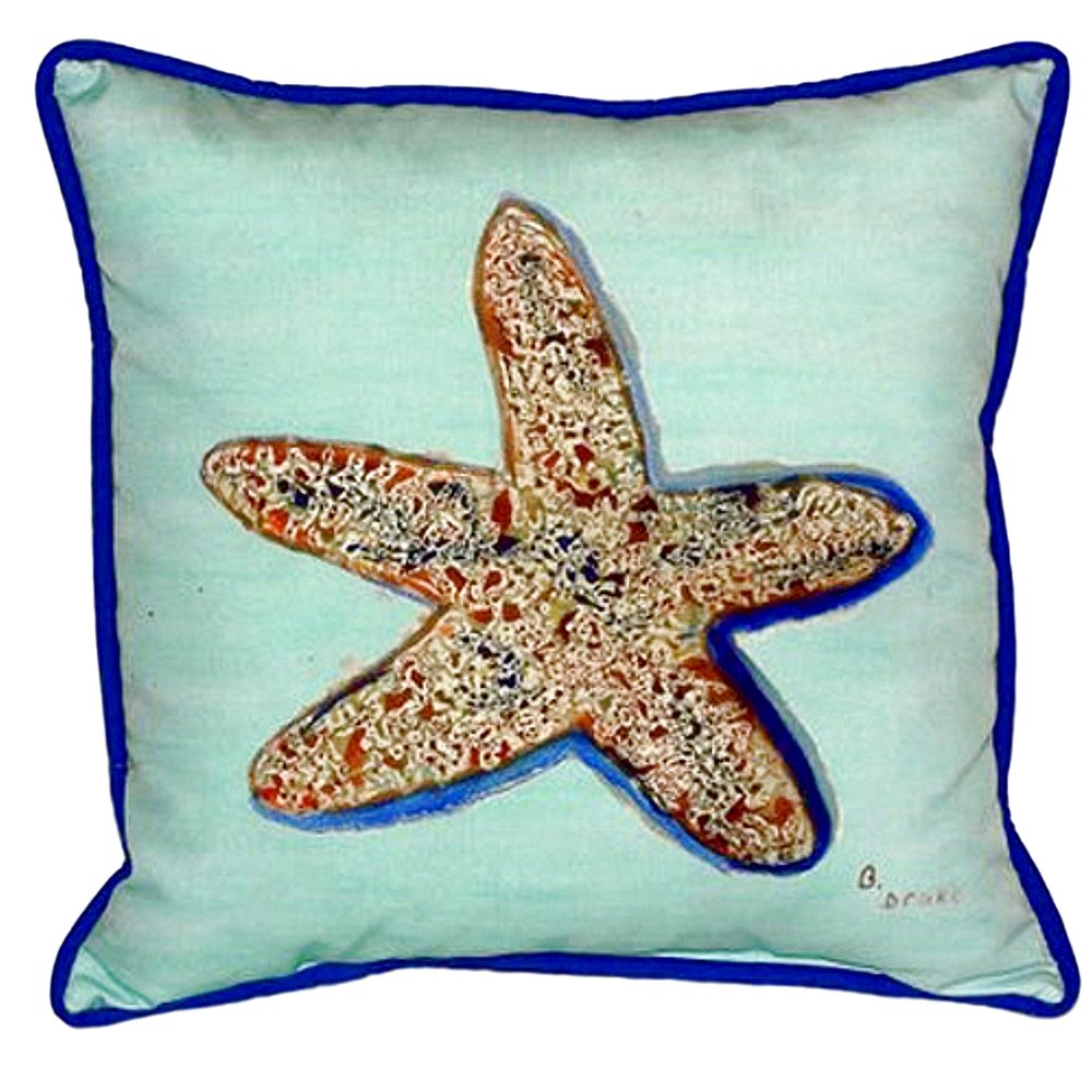 Betsy Drake SN604C Starfish Teal Pillow 12 x12
