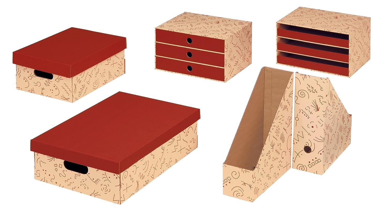 Pack de 2 cajas multiuso color vainilla y burdeos Nips Eco Line Charly 32.5 x 45.5 x 14 cm tama/ño A3