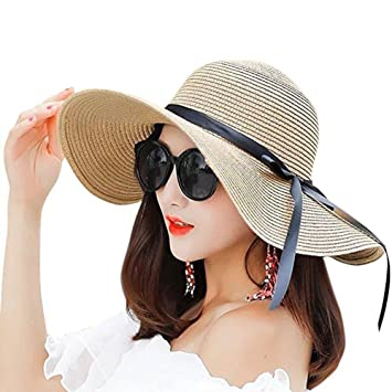 Image Unavailable. Image not available for. Color  Big Brim Beach Hat Floppy  Foldable Portable Bowknot Straw Sun ... d9aa48fc7415