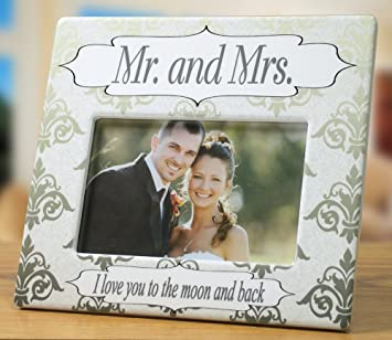 Amazoncom Banberry Designs Wedding Picture Frame Mr Mrs