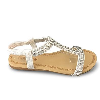 Damen Sandalen Glitzer Sandaletten Nieten Riemchen Sommer BL87 (37, Silber)  Schuhtraum 68b81d1fde