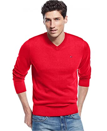 Tommy Hilfigher mens Signature Solid V-Neck Sweater at Amazon ...