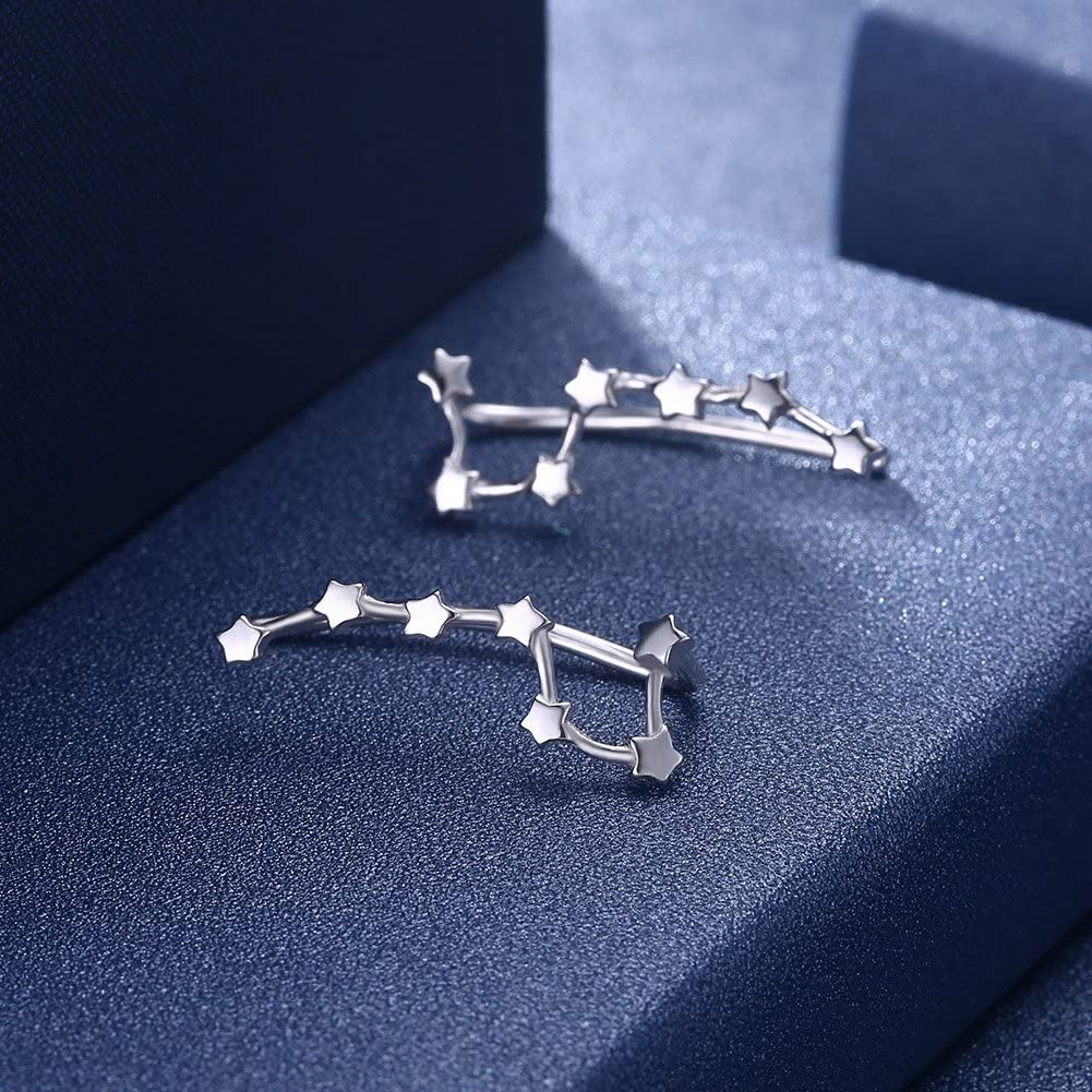 BODYA Sterling Silver Shine Sparkling Star Earrings Climbers Crawlers Hypoallergenic Silver//Gold One Pair Ear Cuff