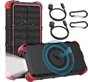 OUTXE 25000mAh Wireless Solar Power Bank IP67 Waterproof Solar Phone Charger with Flashlight Dual Input Type C & Micro USB