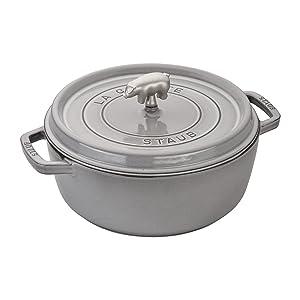 Staub Cast Iron 6-qt Cochon Shallow Wide Round Cocotte - Graphite Grey