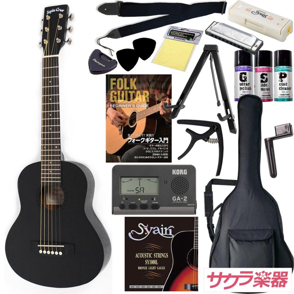 Sepia Crue セピアクルー ミニアコースティックギター W-60/BLK サクラ楽器オリジナル 初心者入門16点セット B00QYJ1KR8 BLK BLK