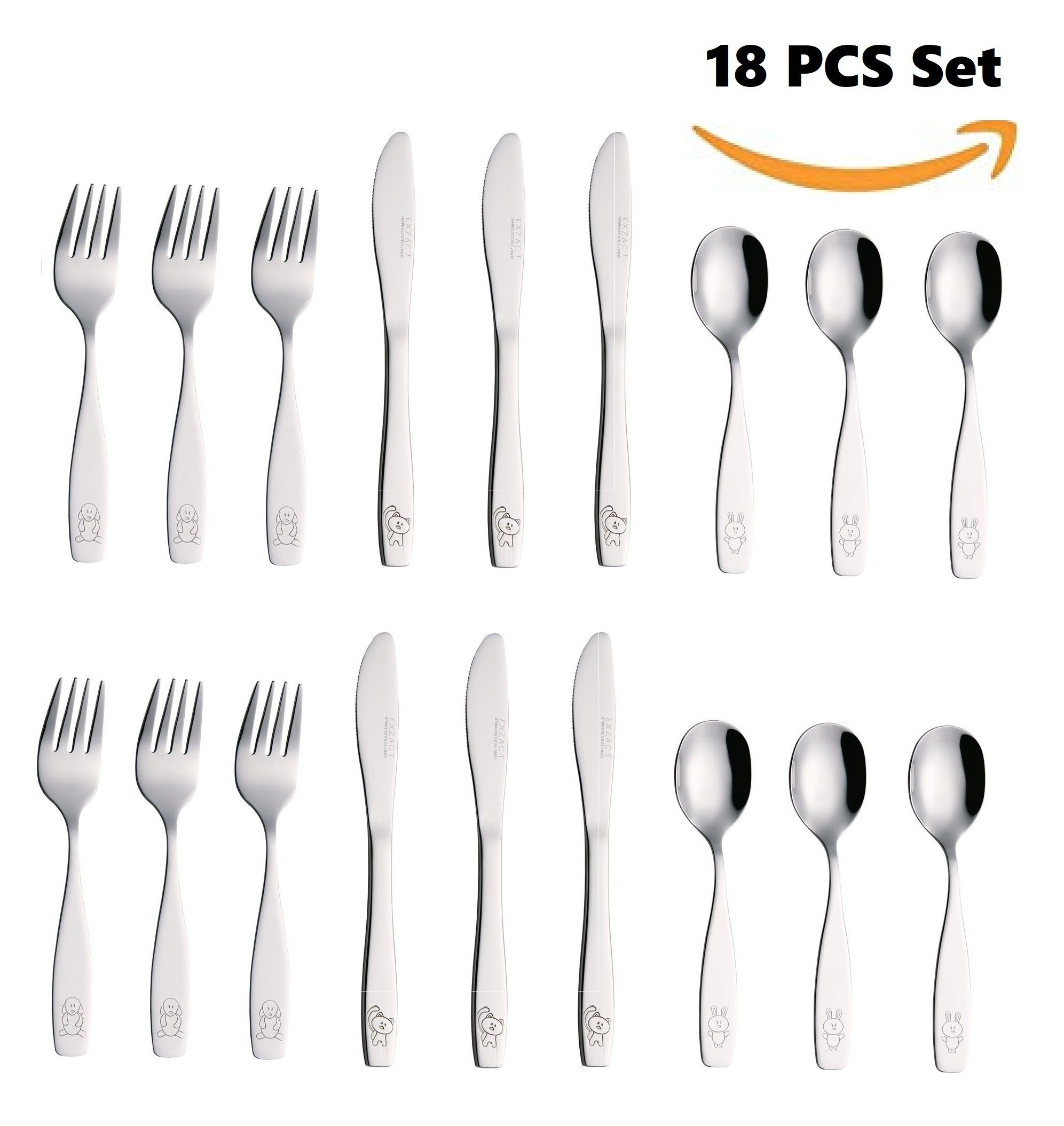 Exzact Stainless Steel 18 PCS Childrens Flatware/Cutlery Set - 6 x Forks, 6 x Safe dinnerknives, 6 x Dinner Spoons - Dog Cat Bunny Design by Exzact (Image #2)